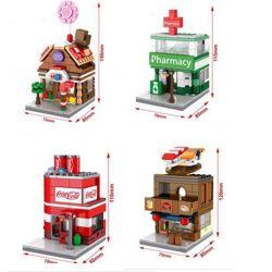 Sembo SD6022 SD6023 SD6024 SD6025 (NOT Lego Architecture Candy-Pharmacy-Coca-Cola ) Xếp hình Phố Thương Mại Và Ngôi Nhà Kẹo Ngọt Trên Đường Phố gồm 4 hộp nhỏ 622 khối