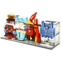 Sembo SD6038 SD6039 SD6040 SD6041 (NOT Lego Mini Modular Budweiser Beer-Ramen Shop-Adidas Store-Swarovski Store ) Xếp hình Cửa Hàng Mì Ramen Của Heo Xinh gồm 4 hộp nhỏ 450 khối