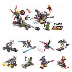 Sheng Yuan 658 SY658 (NOT Lego Super Heroes 8 In 1 Thor Hulk Superman Batman Ironman Spiderman Captain America Wolverine ) Xếp hình 8 Trong 1 Thần Sấm Đội Trưởng Mỹ Người Nhện Người Dơi Người Khổng Lồ Xanh Siêu Nhân Người Sắt Người Sói Kết Hợp gồm 8 hộp nhỏ 230 khối