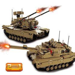 DOUBLEE CADA C61001 61001 LEPIN 20070 Xếp hình kiểu Lego TECHNIC M1A2 Abrams MBT M1A2 Abrams Main Tanks Bộ Xe Tăng 1498 khối điều khiển từ xa