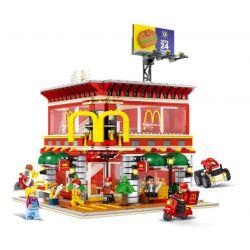 SEMBO SD6901 6901 Xếp hình kiểu Lego MODULAR BUILDINGS Sembo Block Mini Street View Sihe McDonald Flagship Store Light Street View Quán ăn Nhanh lắp được 4 mẫu 1729 khối