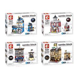 Sembo SD6500 SD6501 SD6502 SD6503 (NOT Lego Mini Modular City Center Mall ) Xếp hình Trung Tâm Mua Sắm Của Thành Phố gồm 4 hộp nhỏ lắp được 4 mẫu 1060 khối