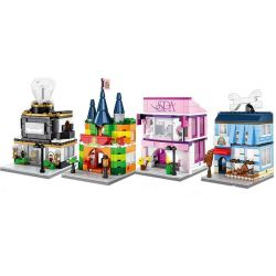 Sembo SD6504 SD6505 SD6506 SD6507 (NOT Lego Mini Modular Pet, Jewelry, Toys And Beauty Shop ) Xếp hình Cửa Hàng Làm Đẹp Và Trang Sức, Đồ Chơi, Thú Nhồi Bông gồm 4 hộp nhỏ lắp được 4 mẫu 676 khối