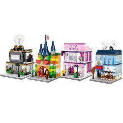 SEMBO SD6504 6504 SD6505 6505 SD6506 6506 SD6507 6507 Xếp hình kiểu Lego MINI MODULAR Pet, Jewelry, Toys And Beauty Shop Cửa Hàng Làm Đẹp Và Trang Sức, Đồ Chơi, Thú Nhồi Bông gồm 4 hộp nhỏ 676 khối