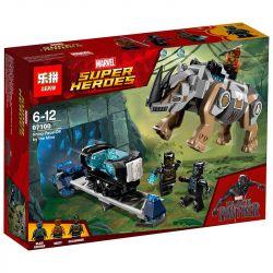 Bela 10836 Lari 10836 LEPIN 07100 Xếp hình kiểu Lego MARVEL SUPER HEROES Rhino Face-Off By The Mine Black Leopard Mining Rhinoceros Đối đầu Tê Giác Ở Hầm Mỏ 229 khối