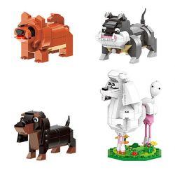 XINGBAO XB-18003 18003 XB18003 Xếp hình kiểu Lego Cute Brick Puppy IDEABOX 萌犬 Dog Family Cún Con Dễ Thương lắp được 4 mẫu 676 khối
