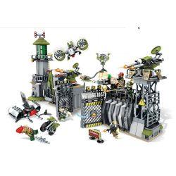 SEMBO 11720 Xếp hình kiểu Lego BLACK GOLD Black Plan Camp Area Defense Wall - Peripheral Warning Tấn Công Doanh Trại Quân đội 761 khối