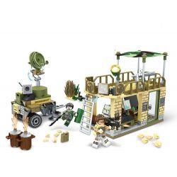 SEMBO 11676 Xếp hình kiểu Lego BLACK GOLD Black Plan Front Radar Command Xây Dựng Căn Cứ Phòng Thủ Ngăn Chặn Tiền đồn 232 khối