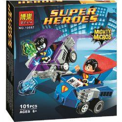 Bela 10667 (NOT Lego DC Comics Super Heroes 76068 Mighty Micros: Superman Vs. Bizarro ) Xếp hình Superman Và Kẻ Thù Bizarro 101 khối