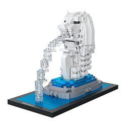 Loz 1020 Mini Blocks Architecture Merlion Park Xếp hình Thú Đầu Sư Tử Merlion 367 khối