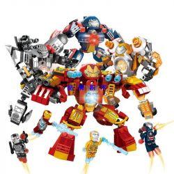 LEPIN 03088 03088A 03088B 03088C 03088D Xếp hình kiểu Lego SUPER HEROES Super Escort Iron Man MK42MK9 4 Mẫu Người Sắt Nhỏ gồm 4 hộp nhỏ lắp được 4 mẫu 839 khối