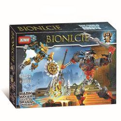 Decool 10689 Jisi 10689 XINH 6018 Xếp hình kiểu Lego BIONICLE Mask Maker Vs. Skull Grinder Biochemical Warrior Change The Geek Cuộc Chiến Mặt Nạ Vàng 171 khối