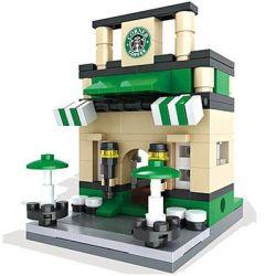 HSANHE 6402 Xếp hình kiểu Lego MINI MODULAR Starbucks Coffee Store Cửa Hàng Cafe Starbucks 189 khối