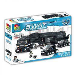 Woma C0552 (NOT Lego SWAT Special Force Swat Truck With Mini Figures ) Xếp hình Xe Tải Chuyên Chở Lực Lượng Đặc Nhiệm 1492 khối