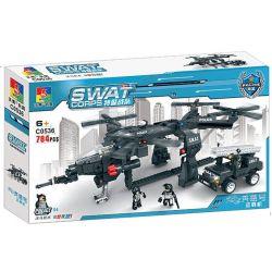 Woma C0536 (NOT Lego SWAT Special Force Swat Carrier ) Xếp hình Trực Thăng Vận Tải Cẩu Ô Tô Đặc Nhiệm 784 khối