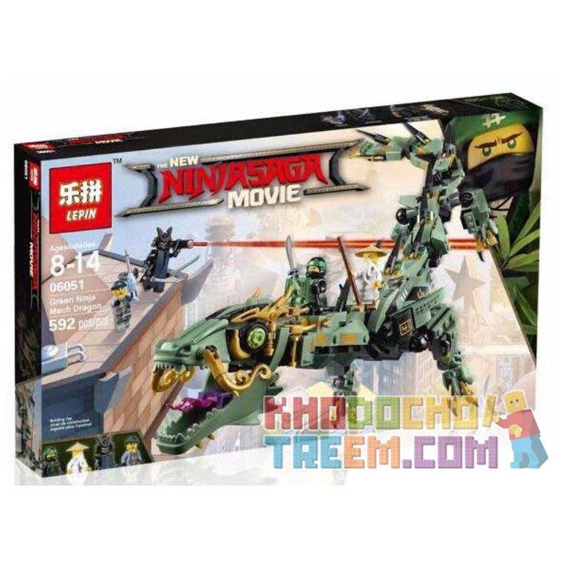 Lepin 06051 Lele 31072 Bela 10718 Decool 20028 Queen 89037 Zimo ZM4016 ZM4015 ZM4012 ZM4011 ZM4010 (NOT Lego Ninjago Movie 70612 Green Ninja Mech Dragon ) Xếp hình Rồng Máy Xanh Khổng Lồ Của Các Ninja