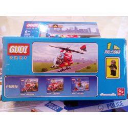 GUDI 9206 Xếp hình kiểu Lego FIRE RESCURE Fireman Firefighting Helicopter Fire Brigade Fire Helicopter Trực Thăng Cứu Hỏa 91 khối