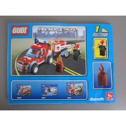 GUDI 9208 Xếp hình kiểu Lego CITY Fireman Fire Rescue Truck Fire Team Fire Rescue Vehicle Xe Bán Tải Cứu Hỏa 122 khối