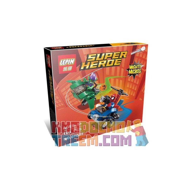 Lepin 07027 (NOT Lego Marvel Super Heroes 76064 Mighty Micros: Spider-Man Vs. Green Goblin ) Xếp hình Người Nhện Đại Chiến Yêu Tinh Xanh Lá 85 khối