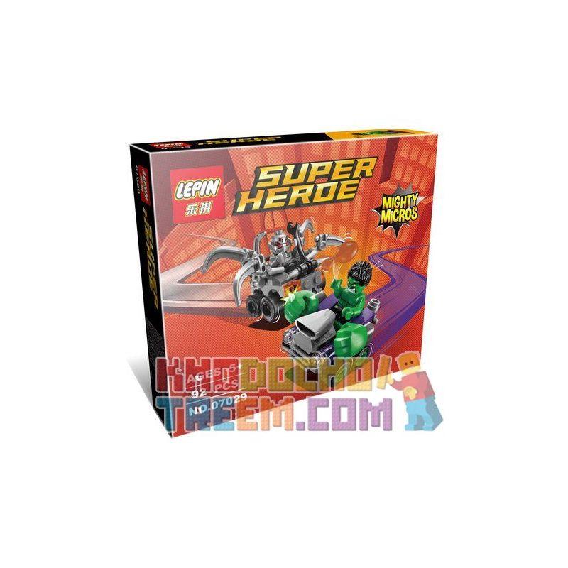 Lepin 07029 (NOT Lego Marvel Super Heroes 76066 Mighty Micros: Hulk Vs. Ultron ) Xếp hình Người Khổng Lồ Xanh Đại Chiến Ultron 80 khối