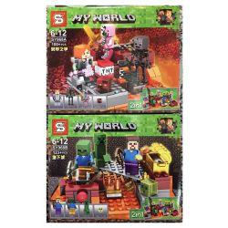 Sheng Yuan 968 SY968 (NOT Lego Minecraft 21139 The Nether Fight & Mining Gold Mine ) Xếp hình Cuộc Chiến Thế Giới Ngầm Và Mỏ Khai Thác Vàng gồm 2 hộp nhỏ 94 khối