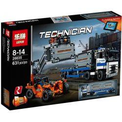 Lepin 20035 (NOT Lego Technic 42062 Container Yard ) Xếp hình Xe Bốc Dỡ Cùng Ô Tô Chở Container 631 khối