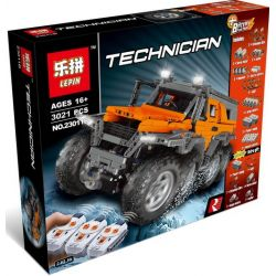 NOT LEGO Technic MOC-5360 Avtoros Shaman 8x8, Lepin 23011 23011B MouldKing 13088 Rebrickable MOC-5360 Xếp hình Ô Tô địa Hình 8 Bánh Trắng Cam 2576 khối điều khiển từ xa