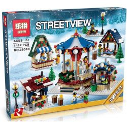 LEPIN 36010 Xếp hình kiểu Lego CREATOR EXPERT Winter Village Market Chợ Làng Mùa đông 1261 khối