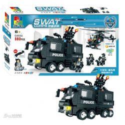 WOMA C0532 0532 Xếp hình kiểu Lego SWAT SPECIAL FORCE SWAT Team Force Trực thăng phối hợp xe chở lính đặc nhiệm 593 khối