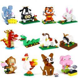 XINGBAO XB-18001 18001 XB18001 XB-18004 18004 XB18004 Xếp hình kiểu Lego Chinese Zodiac IDEABOX Twelve Zodiac 12 Con Giáp Trung Quốc gồm 2 hộp nhỏ lắp được 12 mẫu 1155 khối
