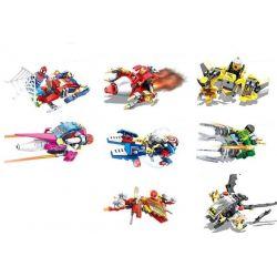 Sheng Yuan 773 SY773 (NOT Lego Super Heroes 8 In 1 Magneto Wolverine Hulk Iron Man Batman Captain America Spider Man Flash ) Xếp hình 8 Siêu Anh Hùng Và Phi Thuyền Cá Nhân gồm 8 hộp nhỏ 879 khối