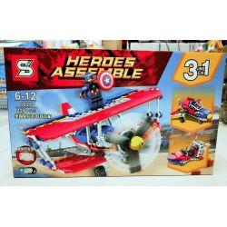 Sheng Yuan 1026 SY1026 Bela 11045 (NOT Lego Super Heroes Flighter Of Captain America 3 In 1 ) Xếp hình Máy Bay Chiến Đấu Của Đội Trưởng Mỹ 3 Trong 1 227 khối