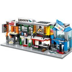 Sembo SD6080 SD6081 SD6082 SD6083 (NOT Lego Mini Modular Google, Lacoste, Fastfood, Toyskingdom ) Xếp hình Bộ 4 Cửa Hàng Máy Tính, Giày, Đồ Ăn Nhanh, Đồ Chơi gồm 4 hộp nhỏ 482 khối