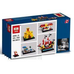 LEPIN 36012 Xếp hình kiểu Lego PROMOTIONAL 60 Years Of The LEGO Brick Lego Brick 60th Anniversary Xe đưa đón Sân Bay, Lâu đài Vàng, Biển đen Barracuda 421 khối