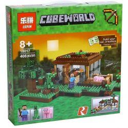 Bela 10176 Lari 10176 BLX 81115 LELE 79045 LEPIN 18017 TENMA TM7423 7423 Xếp hình kiểu Lego MINECRAFT The First Night My World First Night Đêm đầu Tiên 408 khối