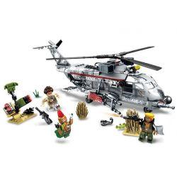 SEMBO 11688 Xếp hình kiểu Lego BLACK GOLD Black Plan Red Devil Legion Ngăn Chặn Máy Bay Trực Thăng Quân đội 340 khối