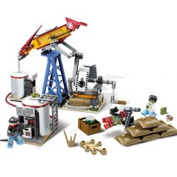 SEMBO 11689 Xếp hình kiểu Lego BLACK GOLD Black Plan Oil Drilling Base Chiến Binh Quân đội Và Hệ Thống Ra-da 316 khối
