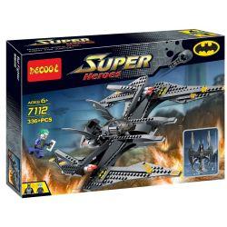 Decool 7112 Jisi 7112 Xếp hình kiểu THE LEGO BATMAN MOVIE The Batwing The Joker's Aerial Assault Bat Wing Fighting Machine Clown Air Assault Joker Tấn Công Phi Thuyền Người Dơi 523 khối