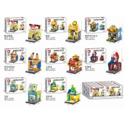 SEMBO 601015 Xếp hình kiểu Lego MINI MODULAR Mini Street Egg Tarts, Chocolate Beverage Shop 迷你街景:书店 492 khối