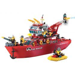 Enlighten 909 Qman 909 KEEPPLEY 909 Xếp hình kiểu Lego CITY Fire Rescue Multi-Function Fire Ship Fire Fighting Multifunctional Fire Boat Tàu Cứu Hỏa Lớn Trên Biển 359 khối