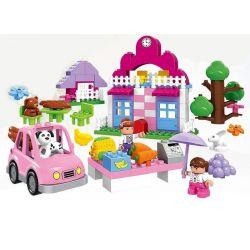 Huimei HM065 (NOT Lego Duplo Pink Supermarket ) Xếp hình Siêu Thị Màu Hồng 95 khối