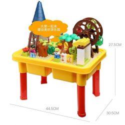 NOT LEGO Education 45001 6023997 Playground, Hystoys HongYuanSheng Aoleduotoys HG-1490 Xếp hình khu vui chơi thiên đường có bàn hộp gồm 2 hộp nhỏ 54 khối