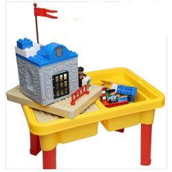 HYSTOYS HONGYUANSHENG AOLEDUOTOYS  HG-1485 1485 HG1485 Xếp hình kiểu Lego Duplo DUPLO Police Station trại giam của cảnh sát có bàn hộp 45 khối