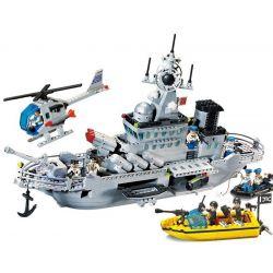Enlighten 821 (NOT Lego Military Army Missile Cruiser ) Xếp hình Tàu Tên Lửa Tuần Dương Phối Hợp Trực Thăng Chống Ngầm 843 khối