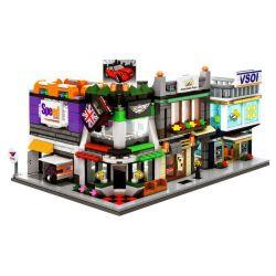 Sembo SD6532 SD6533 SD6534 SD6535 (NOT Lego Mini Modular Car, Vsoi, Courier, News ) Xếp hình Bộ 4 Cửa Hàng Ô Tô, Bóng Đèn, Chuyển Phát Nhanh, Tin Tức gồm 4 hộp nhỏ 582 khối