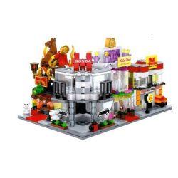 SEMBO SD6524 6524 SD6525 6525 SD6526 6526 SD6527 6527 Xếp hình kiểu Lego MINI MODULAR Courier, Honda Showroom, Wedding Dress, Circus Bộ 4 Của Hàng Chuyển Phát Nhanh, Trưng Bày Xe, Váy Cưới, Rạ
