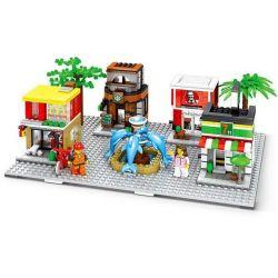 Sembo SD6750 (NOT Lego Modular Buildings Kfc Starbucks Mcdonalds 7-Eleven ) Xếp hình 4 Cửa Hàng Ăn Nhanh Kết Hợp 813 khối