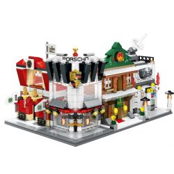 SEMBO SD6520 6520 SD6521 6521 SD6522 6522 SD6523 6523 Xếp hình kiểu Lego MINI MODULAR Porsche, Winter Cafe, Science Center,Town Hall Bộ 4 Cửa Hàng Xe ô Tô, Cà Phê, Tòa Thị Chính, Trung Tâm Khoa