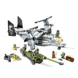 SEMBO 11712 Xếp hình kiểu Lego BLACK GOLD Black Plan Fish Eagle Lifting Wild Wallet Rapid Deployment Ngăn Chặn Máy Bay Quân Sự Osprey 640 khối