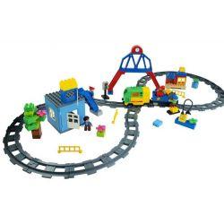 NOT Lego Duplo DUPLO 5609 Deluxe Train Set, HUIMEI STAR CITY XING DOU CHENG HM317 Xếp hình Tàu Hỏa động Cơ Pin Và Ray Số 8 116 khối có động cơ pin